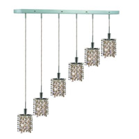 Elegant Lighting Mini 6 Light Pendant in Chrome with Royal Cut Golden Teak (Smoky) Crystals 1386D-O-P-GT/RC
