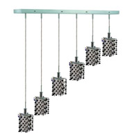 Elegant Lighting Mini 6 Light Pendant in Chrome with Royal Cut Jet (Black) Crystals 1386D-O-P-JT/RC