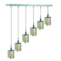 Elegant Lighting Mini 6 Light Pendant in Chrome with Royal Cut Lt. Peridot (Light Green) Crystals 1386D-O-P-LP/RC