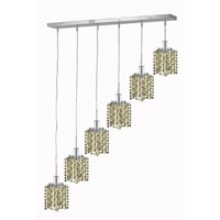 Elegant Lighting Mini 6 Light Pendant in Chrome with Royal Cut Lt. Topaz (Yellow) Crystals 1386D-O-P-LT/RC