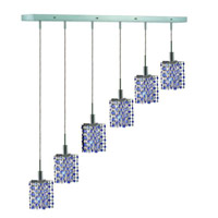 Elegant Lighting Mini 6 Light Pendant in Chrome with Royal Cut Sapphire (Blue) Crystals 1386D-O-P-SA/RC