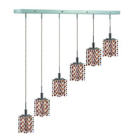 Elegant Lighting Mini 6 Light Pendant in Chrome with Strass Swarovski Topaz (Brown) Crystals 1386D-O-P-TO/SS