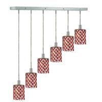 Elegant Lighting Mini 6 Light Pendant in Chrome with Strass Swarovski Bordeaux (Red) Crystals 1386D-O-R-BO/SS