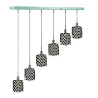 Elegant Lighting Mini 6 Light Pendant in Chrome with Royal Cut Jet (Black) Crystals 1386D-O-S-JT/RC