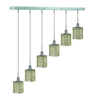Elegant Lighting Mini 6 Light Pendant in Chrome with Royal Cut Lt. Peridot (Light Green) Crystals 1386D-O-S-LP/RC