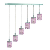 Elegant Lighting Mini 6 Light Pendant in Chrome with Royal Cut Rosaline (Pink) Crystals 1386D-O-S-RO/RC
