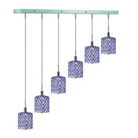 Elegant Lighting Mini 6 Light Pendant in Chrome with Royal Cut Sapphire (Blue) Crystals 1386D-O-S-SA/RC