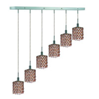 Elegant Lighting Mini 6 Light Pendant in Chrome with Strass Swarovski Topaz (Brown) Crystals 1386D-O-S-TO/SS