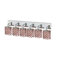 Elegant Lighting Mini 6 Light Wall Sconce in Chrome with Strass Swarovski Bordeaux (Red) Crystals 1386W-O-E-BO/SS