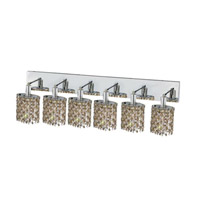 Elegant Lighting Mini 6 Light Wall Sconce in Chrome with Strass Swarovski Golden Teak (Smoky) Crystals 1386W-O-E-GT/SS