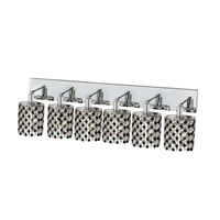 Elegant Lighting Mini 6 Light Wall Sconce in Chrome with Strass Swarovski Jet (Black) Crystals 1386W-O-E-JT/SS