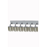 Mini 6 Light 40 inch Chrome Wall Sconce Wall Light in Light Topaz, Swarovski Strass, Ellipse