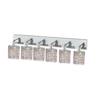 Elegant Lighting Mini 6 Light Wall Sconce in Chrome with Royal Cut Rosaline (Pink) Crystals 1386W-O-E-RO/RC