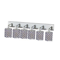 Elegant Lighting Mini 6 Light Wall Sconce in Chrome with Strass Swarovski Sapphire (Blue) Crystals 1386W-O-E-SA/SS