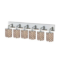 Elegant Lighting Mini 6 Light Wall Sconce in Chrome with Strass Swarovski Topaz (Brown) Crystals 1386W-O-E-TO/SS