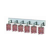 Elegant Lighting Mini 6 Light Wall Sconce in Chrome with Royal Cut Bordeaux (Red) Crystals 1386W-O-P-BO/RC