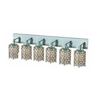 Elegant Lighting Mini 6 Light Wall Sconce in Chrome with Strass Swarovski Golden Teak (Smoky) Crystals 1386W-O-P-GT/SS