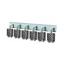 Elegant Lighting Mini 6 Light Wall Sconce in Chrome with Strass Swarovski Jet (Black) Crystals 1386W-O-P-JT/SS