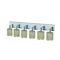 Mini 6 Light 40 inch Chrome Wall Sconce Wall Light in Light Peridot, Royal Cut, Star