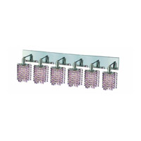 Elegant Lighting Mini 6 Light Wall Sconce in Chrome with Royal Cut Rosaline (Pink) Crystals 1386W-O-P-RO/RC