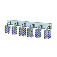 Elegant Lighting Mini 6 Light Wall Sconce in Chrome with Strass Swarovski Sapphire (Blue) Crystals 1386W-O-P-SA/SS