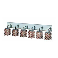 Elegant Lighting Mini 6 Light Wall Sconce in Chrome with Strass Swarovski Topaz (Brown) Crystals 1386W-O-P-TO/SS