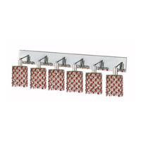 Elegant Lighting Mini 6 Light Wall Sconce in Chrome with Strass Swarovski Bordeaux (Red) Crystals 1386W-O-R-BO/SS