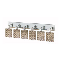 Elegant Lighting Mini 6 Light Wall Sconce in Chrome with Strass Swarovski Golden Teak (Smoky) Crystals 1386W-O-R-GT/SS