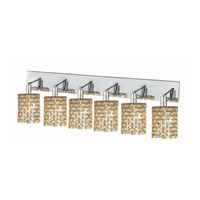 Mini 6 Light 40 inch Chrome Wall Sconce Wall Light in Light Topaz, Royal Cut, Round