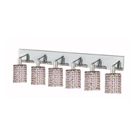 Elegant Lighting Mini 6 Light Wall Sconce in Chrome with Strass Swarovski Rosaline (Pink) Crystals 1386W-O-R-RO/SS