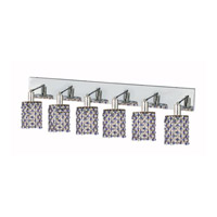 Elegant Lighting Mini 6 Light Wall Sconce in Chrome with Strass Swarovski Sapphire (Blue) Crystals 1386W-O-R-SA/SS