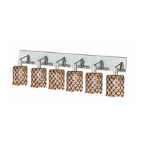 Mini 6 Light 40 inch Chrome Wall Sconce Wall Light in Topaz, Royal Cut, Round
