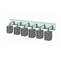 Elegant Lighting Mini 6 Light Wall Sconce in Chrome with Royal Cut Jet (Black) Crystals 1386W-O-S-JT/RC