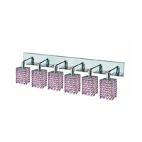 Elegant Lighting Mini 6 Light Wall Sconce in Chrome with Strass Swarovski Rosaline (Pink) Crystals 1386W-O-S-RO/SS