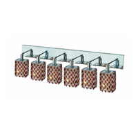 Elegant Lighting Mini 6 Light Wall Sconce in Chrome with Strass Swarovski Topaz (Brown) Crystals 1386W-O-S-TO/SS