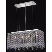 Elegant Lighting Moda 4 Light Dining Chandelier in Chrome with Swarovski Strass Sapphire Crystal 1391D26C-SA/SS