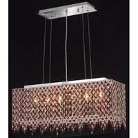 Elegant Lighting Moda 6 Light Dining Chandelier in Chrome with Swarovski Strass Bordeaux Crystal 1391D32C-BO/SS