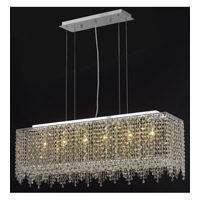 Elegant Lighting Moda 6 Light Dining Chandelier in Chrome with Swarovski Strass Golden Teak Crystal 1391D38C-GT/SS