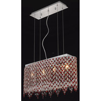 Elegant Lighting Moda 4 Light Dining Chandelier in Chrome with Swarovski Strass Bordeaux Crystal 1392D26C-BO/SS