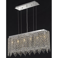 Elegant Lighting Moda 6 Light Dining Chandelier in Chrome with Swarovski Strass Golden Teak Crystal 1392D32C-GT/SS