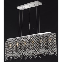 Elegant Lighting Moda 6 Light Dining Chandelier in Chrome with Swarovski Strass Jet Black Crystal 1392D38C-JT/SS