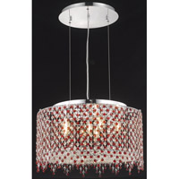 Elegant Lighting Moda 6 Light Dining Chandelier in Chrome with Swarovski Strass Bordeaux Crystal 1393D22C-BO/SS