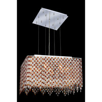 Elegant Lighting Moda 9 Light Dining Chandelier in Chrome with Swarovski Strass Topaz Crystal 1394D22C-TO/SS