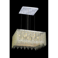Elegant Lighting Moda 13 Light Dining Chandelier in Chrome with Swarovski Strass Light Peridot Crystal 1394D26C-LP/SS