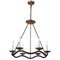 Elegant Lighting Perry 6 Light Pendant in Bronze and Burnished Brass 1419D29BZBB