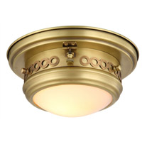 Mallory 1 Light 10 inch Burnished Brass Flush Mount Ceiling Light, Urban Classic