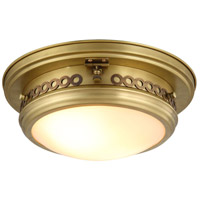 Elegant Lighting 1447F13BB Mallory 2 Light 13 inch Burnished Brass Flush Mount Ceiling Light, Urban Classic