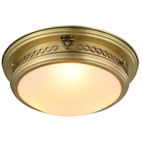 Mallory 3 Light 16 inch Burnished Brass Flush Mount Ceiling Light, Urban Classic