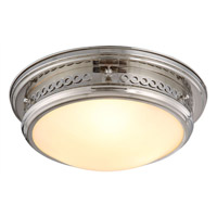 Mallory 3 Light 16 inch Polished Nickel Flush Mount Ceiling Light, Urban Classic