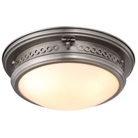 Mallory 3 Light 16 inch Vintage Nickel Flush Mount Ceiling Light, Urban Classic